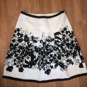 ANN TAYLOR LOFT 4 Linen Floral Black White Skirt